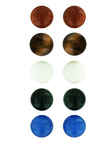 .925 Sterling Silver Gem Stone Ball Stud Earrings 6mm, 8mm (5 Pairs) (8mm- Red Jasper-White Jade-Blue Agate-Onyx-Tiger Eyes) ()