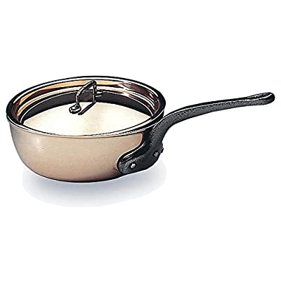 "Matfer Bourgeat Saucier Pan With Lid, 9.5"" Copper 373124"