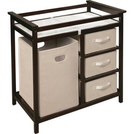 Modern Changing Table with Hamper and Three Baskets (Espresso)