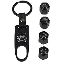 AEMULUS Combo Set Black Tire Stem Valve Caps and Black Keychain Tire Decoration For Car Auto Nissan