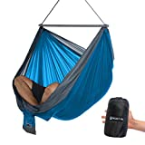 CHILLOUT POD Travel Hammock Chair, Lightweight Hanging Chair, Ultra Compact and Portable, One Minute Setup, Multiple Seating Positions, Foldable One-Piece System (Sky Blue & Grey)