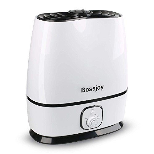 Cool Mist Humidifier, 6L Ultrasonic Humidifiers with Filter, Adjustable Mist Levels, Essential Oil Tray, Waterless Auto Shut-off, 360 Deg Nozzles - Perfect for Home Bedroom Babyroom Office