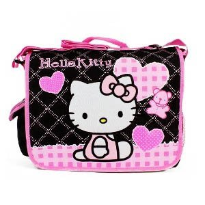 595bb299b69e Image Unavailable. Image not available for. Colour  Black and Pink Hello  Kitty Messenger Bag ...