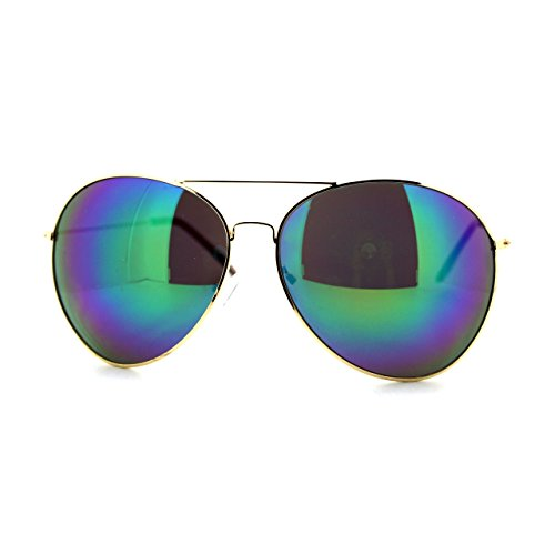 SUPER Oversized Aviator Sunglasses Big Metal Frame Gold, Teal Mirror - Sunglasses Aviator Huge