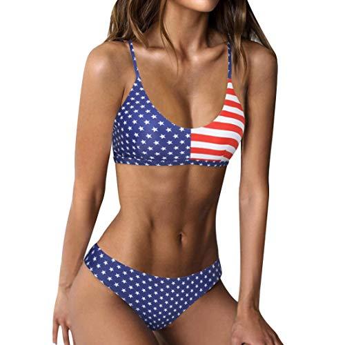 RUUHEE Women Bikini Cheeky Bottom v Neck Brazilian Top 2 Piece Bathing Suits (L(US Size 6-8),Navy Blue-2)