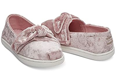 TOMS Kids Baby Girl's Alpargata (Infant/Toddler/Little Kid) Light Faded Rose Velvet/Bow 9 M US Toddler
