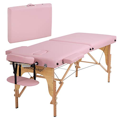 Portable Massage Table Massage Bed SPA Bed Height Adjustable 73 Inch Long 28 Inch Wide 2 Fold Massage Table PU Portable Salon Bed Carry Case Reiki Table