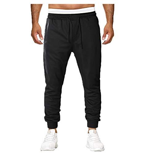 MILIMIEYIK Men Pants Casual Comfy Elastic Waist Pocket Drawstrintg 2019 Fashion Short Jogger Dance Sport Sweatpants Trousers Black ()