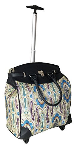 Trendy Flyer Computer/Laptop Rolling Bag 4 Wheel Case Paisley Blue ()