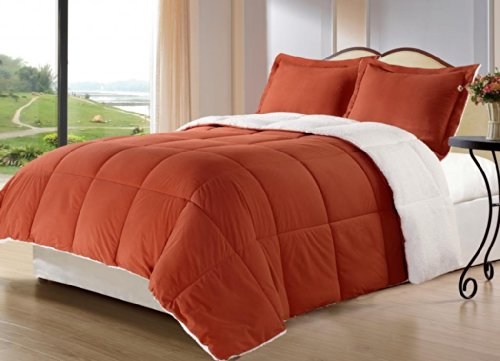 borrego twin size 2 piece burnt orange color down alternative comforter setblanket with pillow shams sherpa and berber fabric bed cover