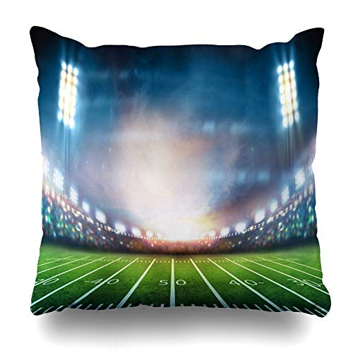 Ahawoso Throw Pillow Cover Line Green American Light Stadium Field Sports Tee Recreation Soccer Grass Night Rugby Kickoff Design Home Decor Zippered Pillowcase Square Size 16 x 16 Inches Cushion Case