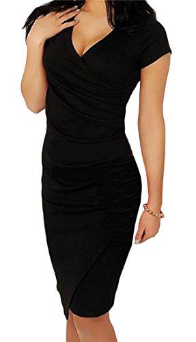 Wrap Manches Courtes Femmes Cromoncent Bodycon Club V Cou Slim Fit Une Robe Noire Étape