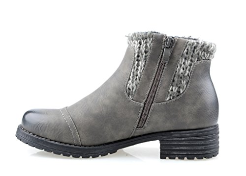 Eyekepper Women's DailyShoes Side Zipper estilo con el suéter del tobillo Bootie gris