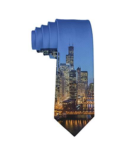 USA Chicago Skyline Night View Formal Tie, Men Neckties Suit Accessories - Fashion Slim Party Suit Neckties