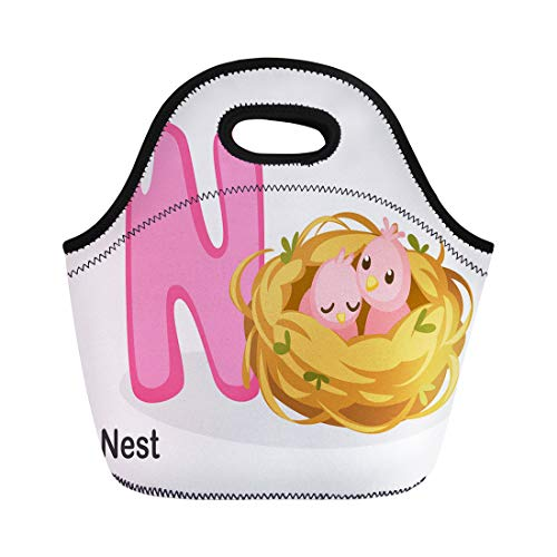 Semtomn Lunch Bags Kids Colorful Abc N for Nest Cartoon Alphabet Animal Neoprene Lunch Bag Lunchbox Tote Bag Portable Picnic Bag Cooler Bag