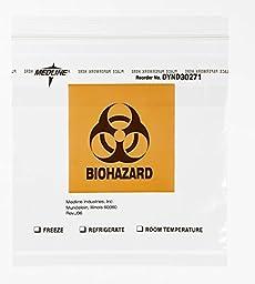 Medline DYND30271 Zip-Style Biohazard Specimen Bags, Plastic, Latex Free, 8\