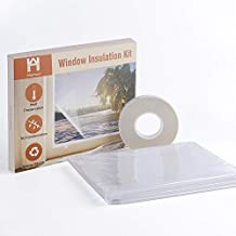 """Homein Window Insulation Kit 62""""x210"""", Window Shrink Film Large Size Indoor Heat Shrink Cling Film Crystal Clear Heavy Duty Insulating Film with Double-sided Tape Weatherproof Insulator Kit for Winter"""