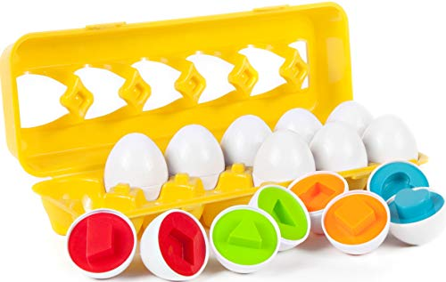 BleuZoo Matching Eggs Set - Preschool Montessori Learning Toys for Toddlers Baby | Color Shapes Sorting & Matching - 12 Eggs & Carton -
