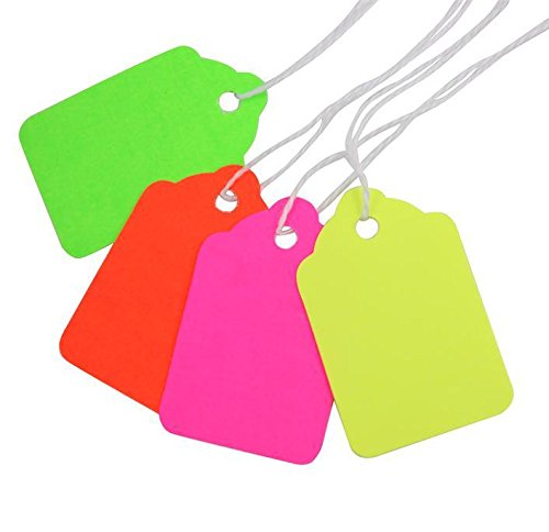 #5 Fluorescent Colors Merchandise Tags with Knotted Strings, 1-3/4