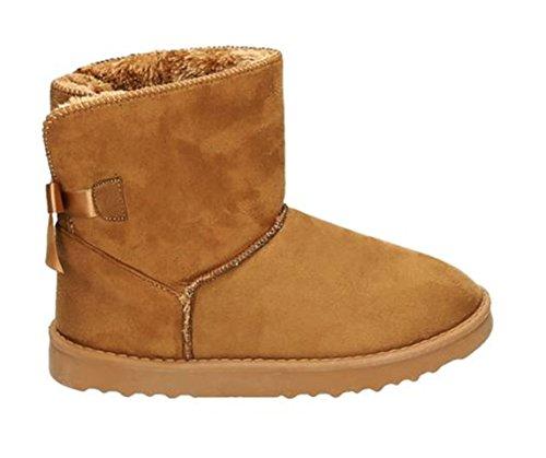 King Of Shoes Damen Stiefeletten Schnee Stiefel Boots Flache Schlupfstiefel Warm Gefüttert Winter Schuhe 783 Camel 17