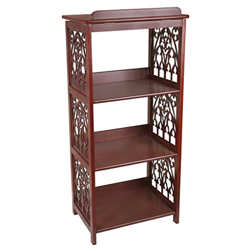 Design Toscano St. Thomas Aquinas Gothic Decor Wooden Bookstand Library Display Stand, 43 Inch, Hardwood, Walnut Finish