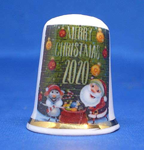 Birchcroft Porcelain China Collectable Thimble Merry Christmas 2020 Box
