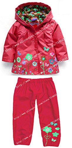 ROLO Spring Children Clothing Sets Sport Suit Tracksuit For Girls Clothes Suits Raincoat Coats Jackets Costume For Girls Kids Clothes Red 3T