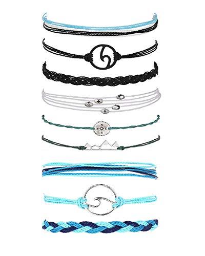 J Meng Wave Bracelet Adjustable Waterproof Ocean Wave Braided Rope String Bracelet for Woman (D:Blue+Black+White)