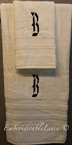 Premium Oversized Plush Luxury Monogramed Towel Set by EmbroiderableLinens© Your choice of color towel set, font for monogram, and color for embroidery! -