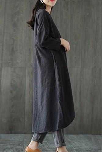 Magimodac para verano vintage Vestido largo de lino para mujer para fiestas talla 38-50 t/única