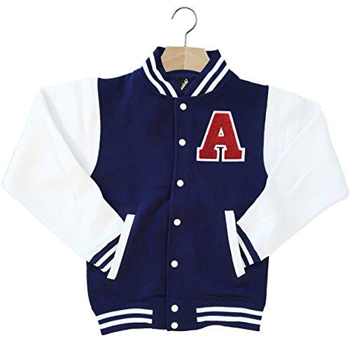 Varsity Baseball Jacket Personalised Genuine US College Letter A (Large, Navy) ()