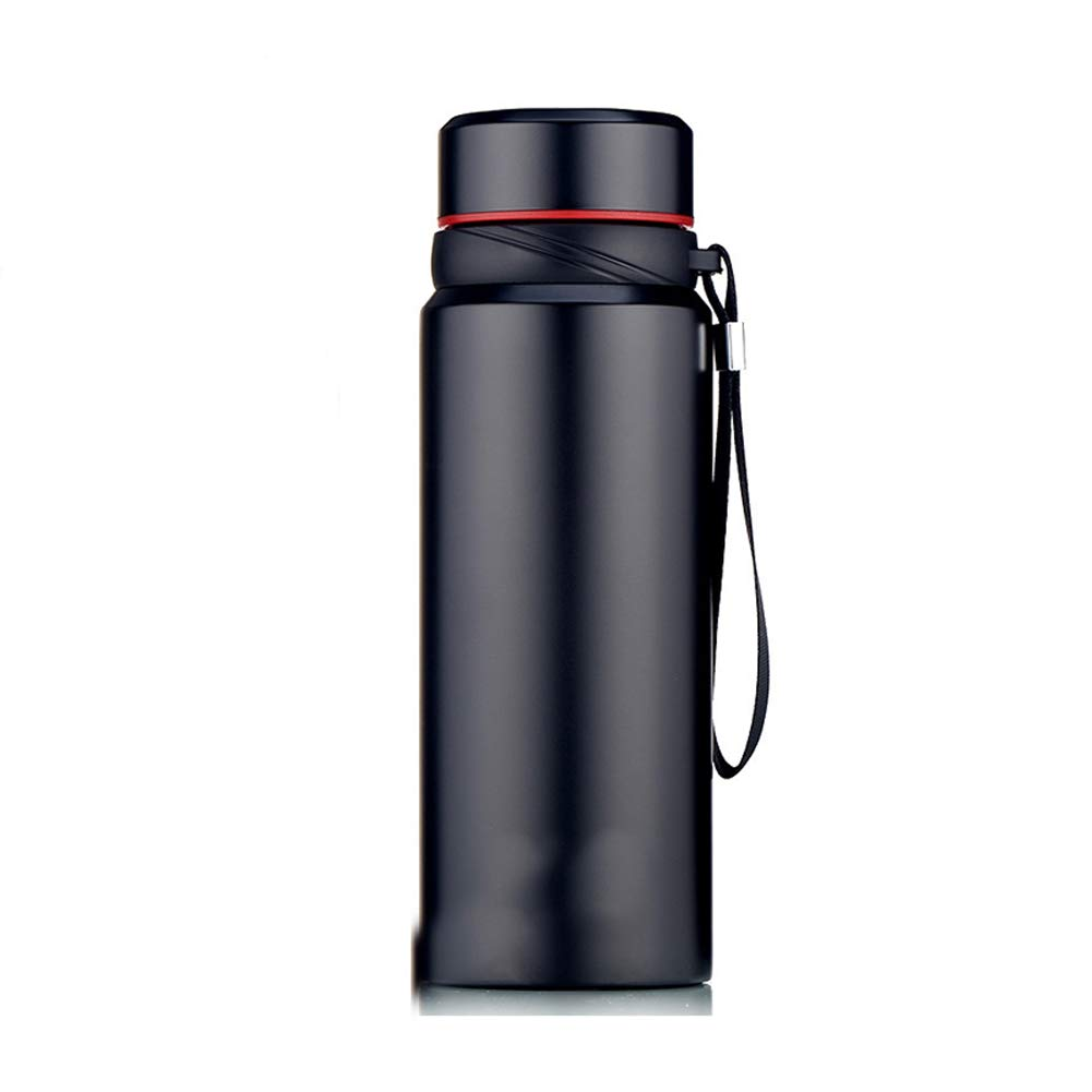 Black Travel Water Bottle, Insulated Stainless Steel LeakProof Portable Thermal Flask Suitable for Cycling Camping Hiking Travel Gym,True