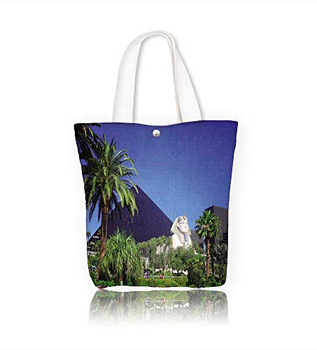 Canvas Tote Bag Luxor hotel casino on Las Vegas strip Hanbag Women Shoulder Bag Fashion Tote Ba W12xH7.8xD3 INCH