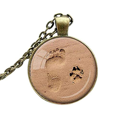 Necklace Opeof Women's Vintage Jewelry Dog Paws Print Footprint Pendant Necklace Sweater Chain - Ancient Bronze