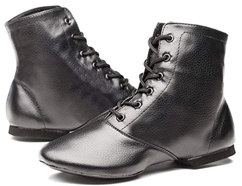 Womens Black Leather Split Sole Jazz Dance Boots Shoes(Adult/Unisex for Big Kid)