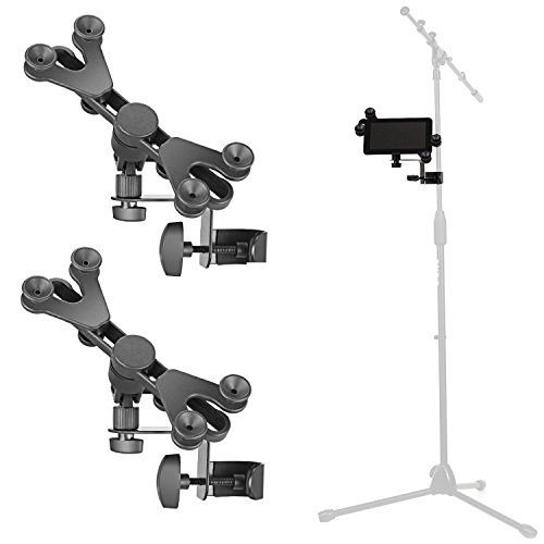 - Pack of 2 - Hola! Music HM-MTH Microphone Music Stand Tablet / Smartphone Holder Mount - Fits Devices from 6 to 15 Inch