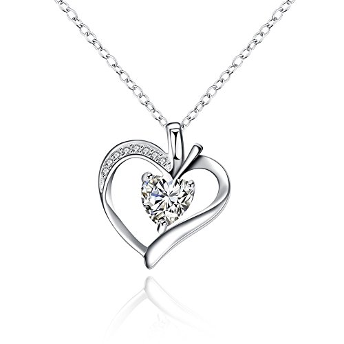 FENDINA Elegant 18K White Gold Plated Pendant Necklace Heart Created Diamond Valentin's Day Gift for Women Best Friend Necklaces