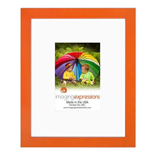 Imaging Expressions - Orange Picture Frame 8x10 - Use Thick Beveled Mat to Display 4x6 Photos - Wall Hanging or Sturdy Easel for Tabletop Display - Made in The USA (8x10 | 4x6 Image Opening, Orange)