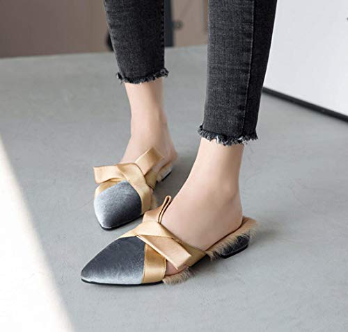 Casual Flat Shoes Closed Toe Shoes Outdoor Fashion Plush Women's Slippers DANDANJIE Gray Heel Xw6t8nq
