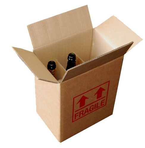 Cardboard Wine Bottle Box Printed Fragile Holds 6 Bottles 335mm x 275mm x 190mm Qty 15 Box ei-Packaging