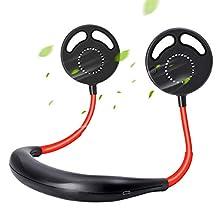 Upgraded Leafless Hands-Free Neckband Fan,SPAZEL USB Rechargeable Personal Wearable Fan, Premium Headphone Design Mini Neckband Fan with Dual Wind Head for Sports Home Travel
