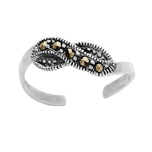 Silverly Women's .925 Sterling Silver Simulated Marcasite Twist Midi Toe Adjustable Ring