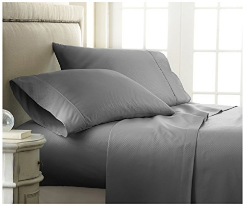 ienjoy Home BC-CHECK-QUEEN-GRAY Becky Cameron Embossed Checker 4Piece Luxury Soft Premium Bed (Cameron Check)
