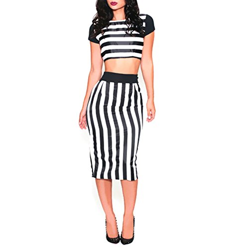 Buy black and white striped long sleeved bodycon dress - 4