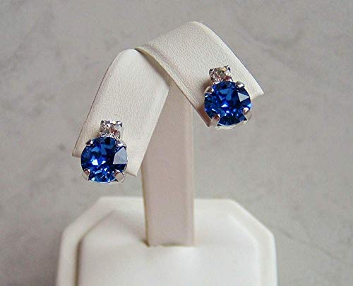 (Dark Blue Round Crystal Studded Top Earrings Simulated Sapphire September Birthstone Gift Idea SP)