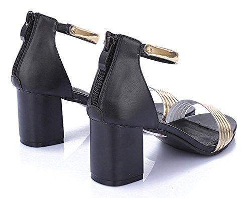 Chfso Donna Elegante Open Toe Cinturino Alla Caviglia Con Cerniera Mid Tacchi Alti Sandali Gladiatore Nero