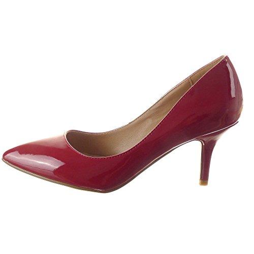 Sopily - Zapatillas de Moda Tacón escarpín Stiletto Tobillo mujer brillantes Talón Tacón de aguja alto 7.5 CM - Rojo