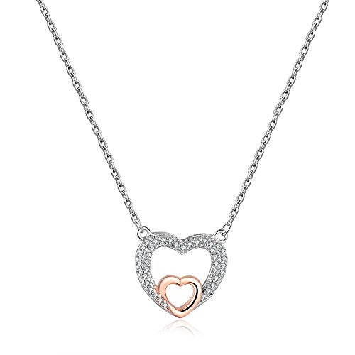 espere Sterling Silver Rhodium Plated Micropave Two Tone CZ Heart Necklace (Zirconia Fashion Cubic 16' Necklace)