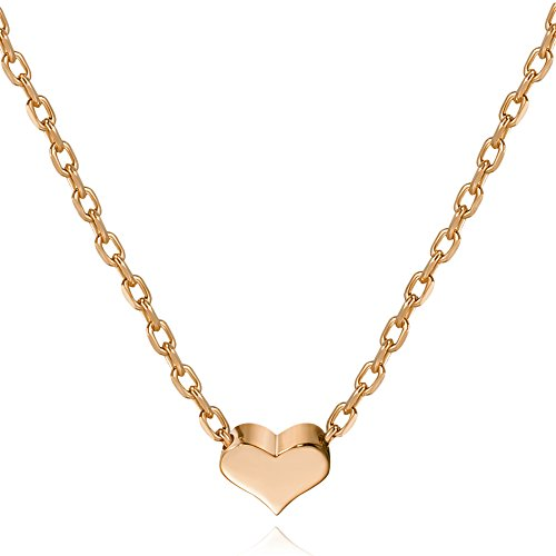 (S.Lea Rose Gold Plated Heart Necklace Sterling Silver Dainty Necklace for Women (Rose, 7))