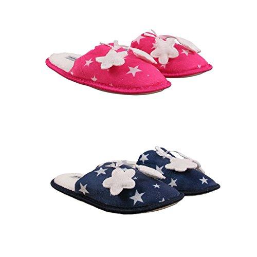 Pantoufles Femme Lot de 2 Couleur - Marine/Rose Taille - 40